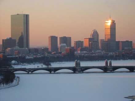 Boston Skyline in Winter